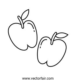 fresh apples line style icons