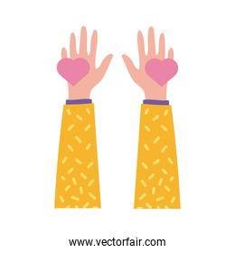 happy friendship day celebration with hands lifting hearts pastel flat style