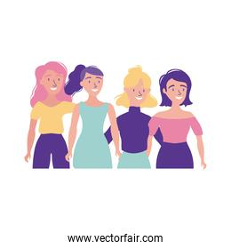 happy friendship day celebration with girls pastel flat style