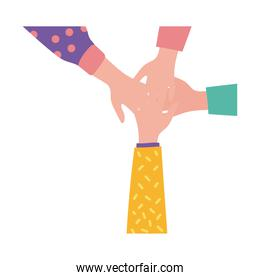 happy friendship day celebration with hands together pastel flat style