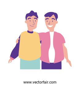 happy friendship day celebration with men couple pastel flat style