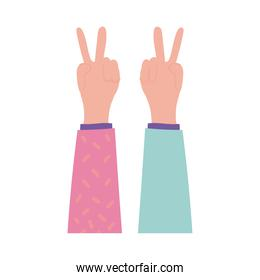 happy friendship day celebration with hands up pastel flat style