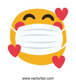 emoji wearing medical mask with hearts hand draw style