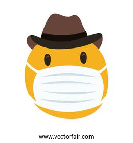 emoji wearing medical mask with cowboy hat hand draw style