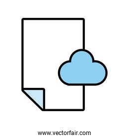 paper document with cloud computing line and fill style icon