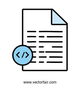paper document with code line and fill style icon