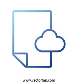 paper document with cloud computing gradient style icon