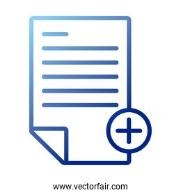paper document with pluss gradient style icon