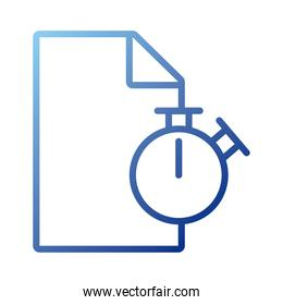 paper document with chronometer gradient style icon