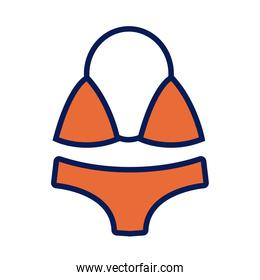 female swimsuit line and fill icon
