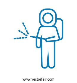 man with biosafety suit line style icon