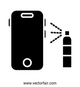 spray bottle cleaning smartphone silhouette style