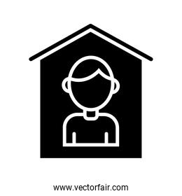 person stay at home silhouette style icon