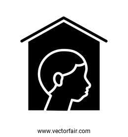 person stay at home silhouette style design