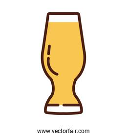 beer glass drink international day line and fill style