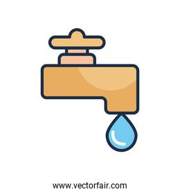 water faucet icon, line fill style