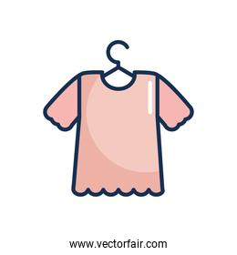 hanger with tshirt icon, line fill style