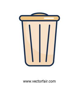 trash can icon, line fill style