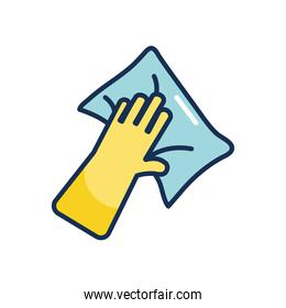 cleaning glove with a wipe, line fill style