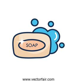 soap bar with water, line fill style