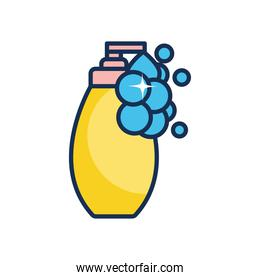 hands soap bottle icon, line fill style