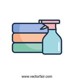 folded clothes and spray bottle icon, line fill style