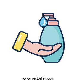 hand with soap bottle icon, line fill style