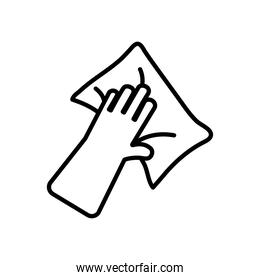 cleaning glove with a wipe, line style