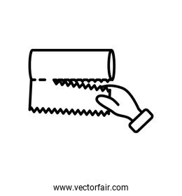 hand with kitchen paper icon, line style
