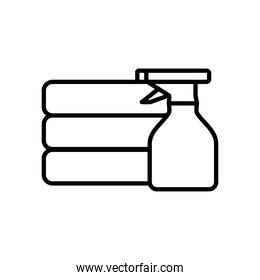 folded clothes and spray bottle icon, line style