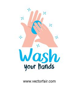 wash your hands lettering design with hands with soap bar icon