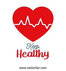 keep healthy lettering design with cardio heart icon