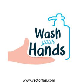 wash your hands lettering design with soap bottle and hand icon