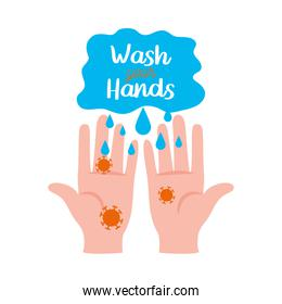 wash your hands lettering design with infected hands icon
