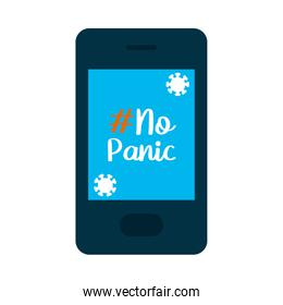 cellphone with no panic lettering design on screen