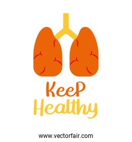 keep health lettering design with lungs icon