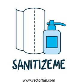 sanitizeme lettering design with paper towels and soap bottle icon
