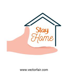 stay home lettering design with hand and house shape icon