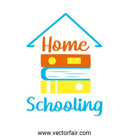 home schooling lettering design with house roof shape and books icon