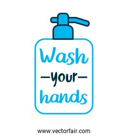 wash your hands lettering design with soap bottle icon