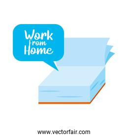 speech bubble with work from home lettering design and book icon