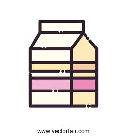 Isolated milk box fill and line style icon vector design