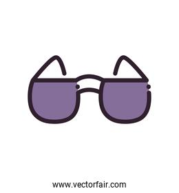 Isolated glasses fill and line style icon vector design