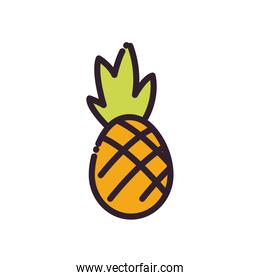 Isolated pineapple fruit fill and line style icon vector design