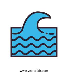 Sea wave fill and line style icon vector design