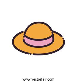 Isolated female hat fill and line style icon vector design