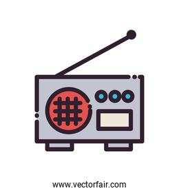 Isolated radio machine fill and line style icon vector design