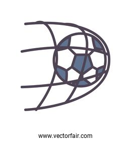 Soccer ball goal line and fill style icon vector design