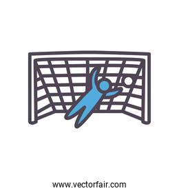 soccer goalkeeper with ball line and fill style icon vector design