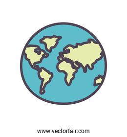 Isolated world sphere line and fill style icon vector design